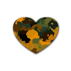 Background For Scrapbooking Or Other Camouflage Patterns Orange And Green Rubber Coaster (Heart)