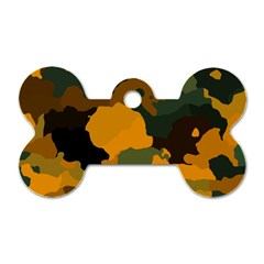 Background For Scrapbooking Or Other Camouflage Patterns Orange And Green Dog Tag Bone (One Side)