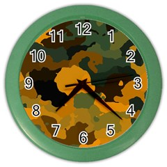 Background For Scrapbooking Or Other Camouflage Patterns Orange And Green Color Wall Clocks