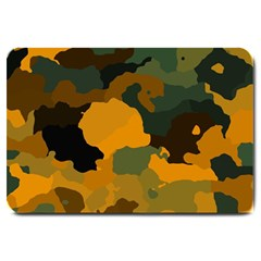 Background For Scrapbooking Or Other Camouflage Patterns Orange And Green Large Doormat
