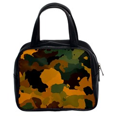Background For Scrapbooking Or Other Camouflage Patterns Orange And Green Classic Handbags (2 Sides)