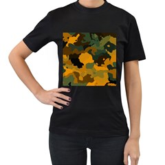 Background For Scrapbooking Or Other Camouflage Patterns Orange And Green Women s T-Shirt (Black)
