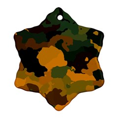 Background For Scrapbooking Or Other Camouflage Patterns Orange And Green Snowflake Ornament (two Sides)