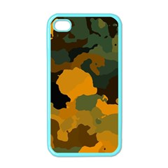 Background For Scrapbooking Or Other Camouflage Patterns Orange And Green Apple iPhone 4 Case (Color)