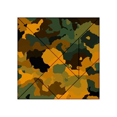 Background For Scrapbooking Or Other Camouflage Patterns Orange And Green Acrylic Tangram Puzzle (4  x 4 )