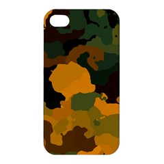 Background For Scrapbooking Or Other Camouflage Patterns Orange And Green Apple iPhone 4/4S Premium Hardshell Case