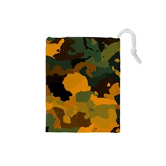 Background For Scrapbooking Or Other Camouflage Patterns Orange And Green Drawstring Pouches (Small)