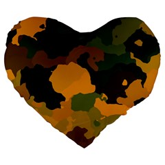 Background For Scrapbooking Or Other Camouflage Patterns Orange And Green Large 19  Premium Flano Heart Shape Cushions