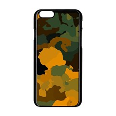 Background For Scrapbooking Or Other Camouflage Patterns Orange And Green Apple Iphone 6/6s Black Enamel Case