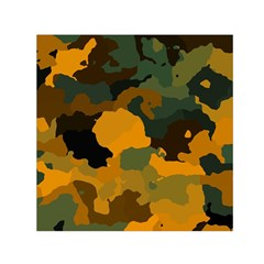 Background For Scrapbooking Or Other Camouflage Patterns Orange And Green Small Satin Scarf (Square)