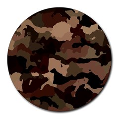 Background For Scrapbooking Or Other Camouflage Patterns Beige And Brown Round Mousepads