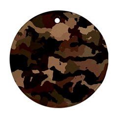 Background For Scrapbooking Or Other Camouflage Patterns Beige And Brown Ornament (Round)