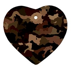 Background For Scrapbooking Or Other Camouflage Patterns Beige And Brown Ornament (Heart)