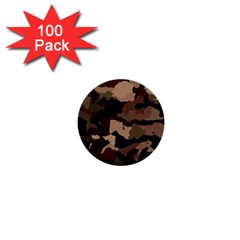 Background For Scrapbooking Or Other Camouflage Patterns Beige And Brown 1  Mini Buttons (100 pack)
