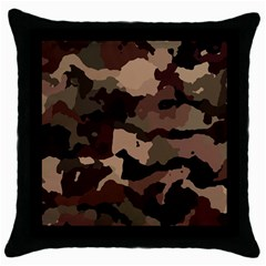 Background For Scrapbooking Or Other Camouflage Patterns Beige And Brown Throw Pillow Case (Black)