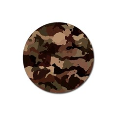 Background For Scrapbooking Or Other Camouflage Patterns Beige And Brown Magnet 3  (Round)