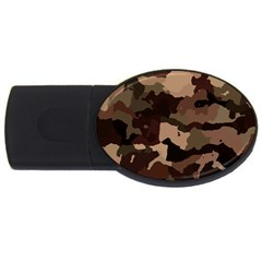 Background For Scrapbooking Or Other Camouflage Patterns Beige And Brown USB Flash Drive Oval (1 GB)