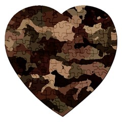 Background For Scrapbooking Or Other Camouflage Patterns Beige And Brown Jigsaw Puzzle (Heart)