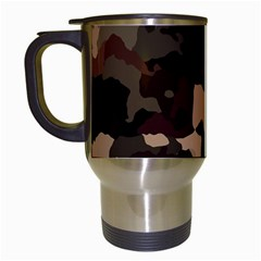 Background For Scrapbooking Or Other Camouflage Patterns Beige And Brown Travel Mugs (White)