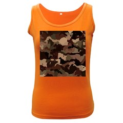 Background For Scrapbooking Or Other Camouflage Patterns Beige And Brown Women s Dark Tank Top
