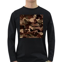 Background For Scrapbooking Or Other Camouflage Patterns Beige And Brown Long Sleeve Dark T-Shirts