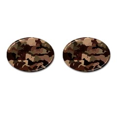 Background For Scrapbooking Or Other Camouflage Patterns Beige And Brown Cufflinks (Oval)