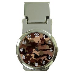 Background For Scrapbooking Or Other Camouflage Patterns Beige And Brown Money Clip Watches