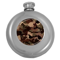 Background For Scrapbooking Or Other Camouflage Patterns Beige And Brown Round Hip Flask (5 oz)