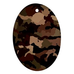 Background For Scrapbooking Or Other Camouflage Patterns Beige And Brown Oval Ornament (Two Sides)
