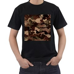 Background For Scrapbooking Or Other Camouflage Patterns Beige And Brown Men s T-Shirt (Black)