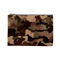 Background For Scrapbooking Or Other Camouflage Patterns Beige And Brown Cosmetic Bag (Large)