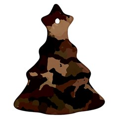 Background For Scrapbooking Or Other Camouflage Patterns Beige And Brown Christmas Tree Ornament (Two Sides)