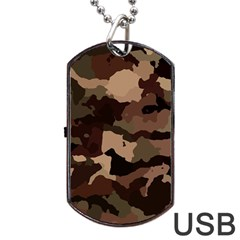 Background For Scrapbooking Or Other Camouflage Patterns Beige And Brown Dog Tag USB Flash (Two Sides)