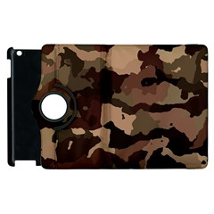 Background For Scrapbooking Or Other Camouflage Patterns Beige And Brown Apple iPad 3/4 Flip 360 Case