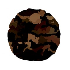 Background For Scrapbooking Or Other Camouflage Patterns Beige And Brown Standard 15  Premium Round Cushions