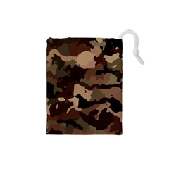Background For Scrapbooking Or Other Camouflage Patterns Beige And Brown Drawstring Pouches (Small)