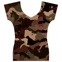 Background For Scrapbooking Or Other Camouflage Patterns Beige And Brown Women s V-Neck Cap Sleeve Top