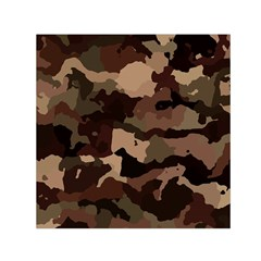 Background For Scrapbooking Or Other Camouflage Patterns Beige And Brown Small Satin Scarf (Square)