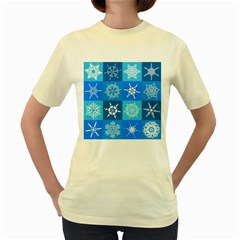 Background Blue Decoration Women s Yellow T-Shirt