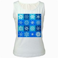Background Blue Decoration Women s White Tank Top