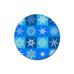 Background Blue Decoration Rubber Round Coaster (4 pack)
