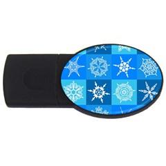 Background Blue Decoration USB Flash Drive Oval (1 GB)