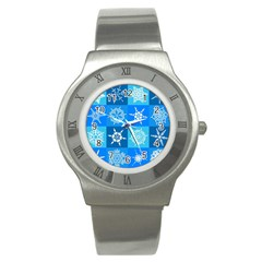 Background Blue Decoration Stainless Steel Watch