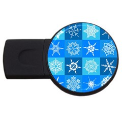 Background Blue Decoration USB Flash Drive Round (4 GB)