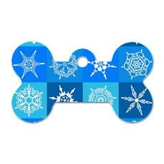 Background Blue Decoration Dog Tag Bone (One Side)