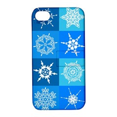 Background Blue Decoration Apple iPhone 4/4S Hardshell Case with Stand