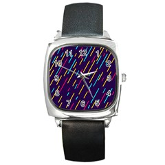 Background Lines Forms Square Metal Watch