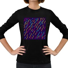 Background Lines Forms Women s Long Sleeve Dark T-Shirts