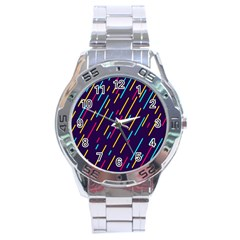 Background Lines Forms Stainless Steel Analogue Watch