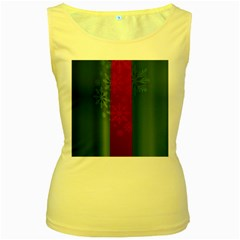 Background Christmas Women s Yellow Tank Top